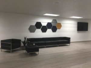 acoustical panels in an open shared space