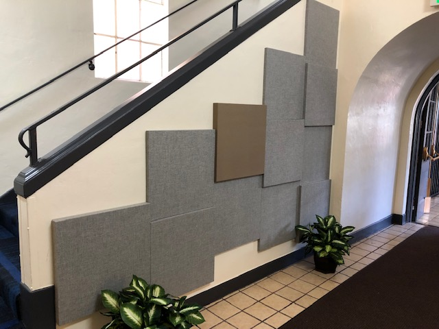 acoustic panels in a hall way to dampen sounds