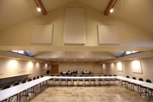 acoustic panels in a large conference room